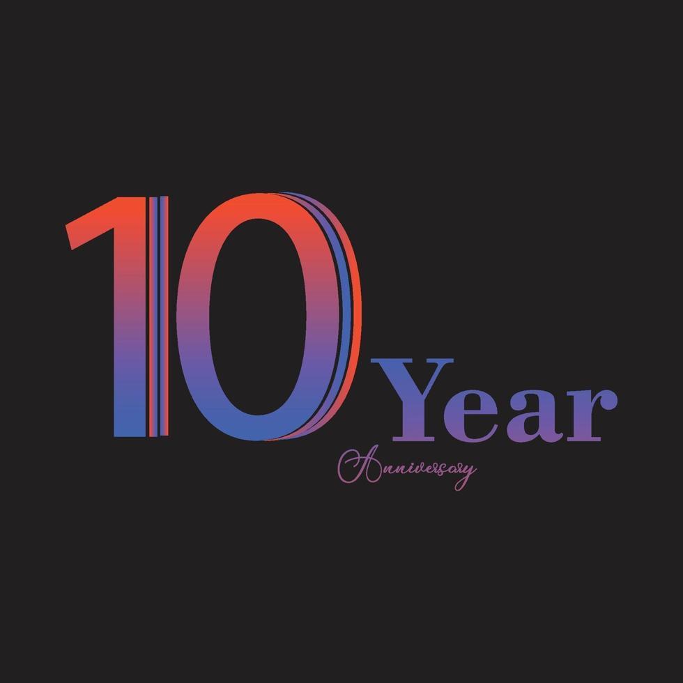 Illustration för design för mall för vektor för 10 års jubileumsfirande för regnbågefärg