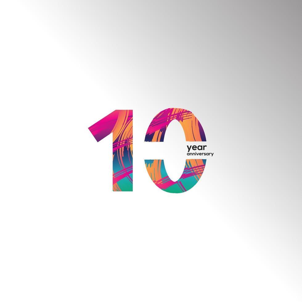 Illustration för design för mall för vektor för 10 års jubileumsfirande