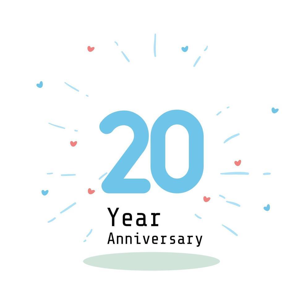 20 års illustration för design för mall för färg för blå årsdagfirande vektor