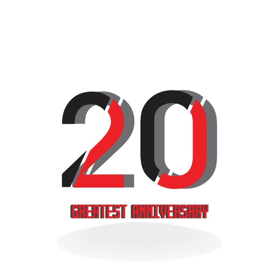 20 års illustration för design för mall för röd färg för vektor för årsdagfirande svart