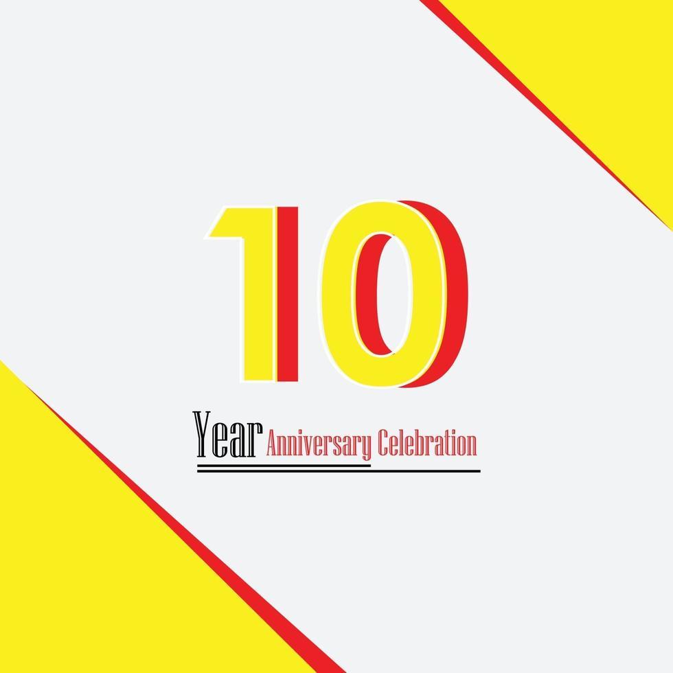 Illustration för design för mall för vektor för 10 år för årsdagfirande gul