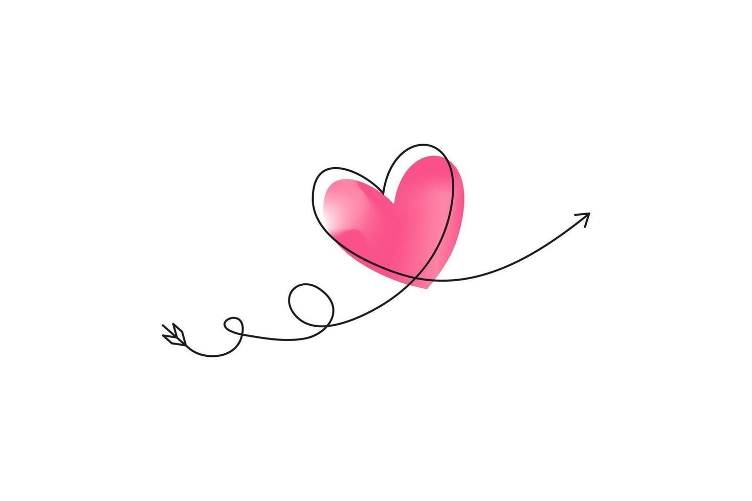 cupidens pil i kontinuerlig ritning av linjer i form av ett hjärta med pastellfärgad neonfärg. kontinuerlig svart linje. symbol för kärlek och ömhet. vektor