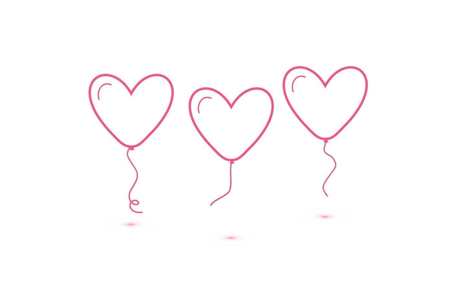uppsättning hjärtballonger isolerade, enda linjär ikon för webbplatser och mobil minimalistisk platt design. vektor