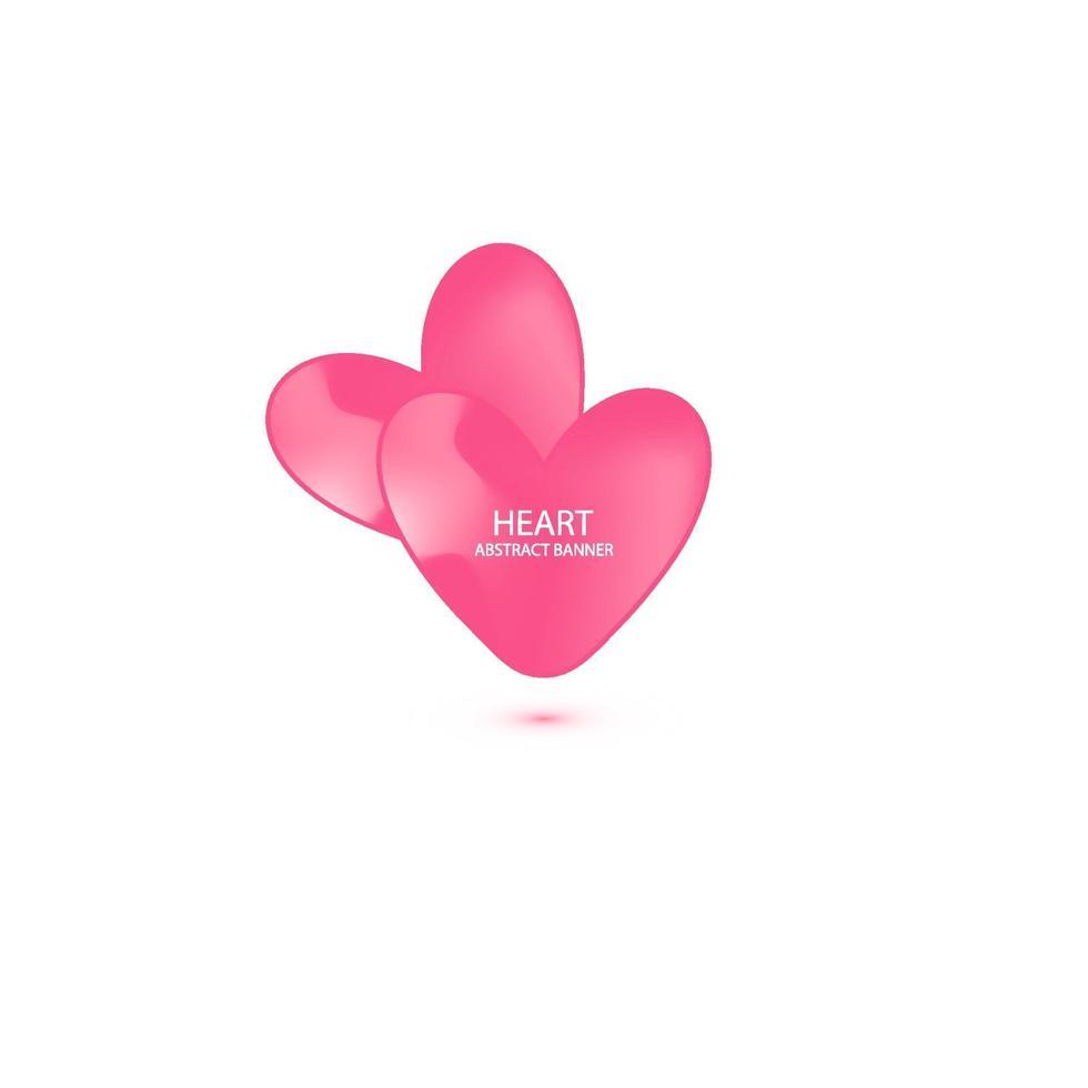 två hjärtan abstrakt banner. organiska eller flytande former med pastellfärgad neonfärg. användbar för webb, sociala medier, tryck, banner, bakgrund, bakgrundsmall. Alla hjärtans dag firande vektor