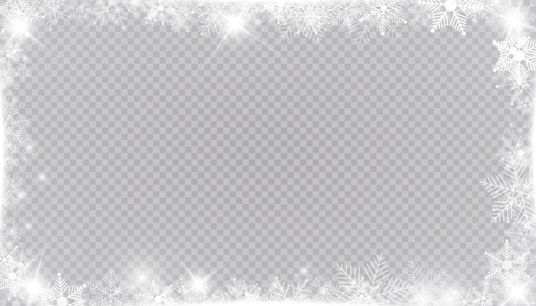 rektangulär vintersnö ram kant med stjärnor, gnistrar och snöflingor. festlig jul banner, nyår gratulationskort, vykort eller inbjudan vektor