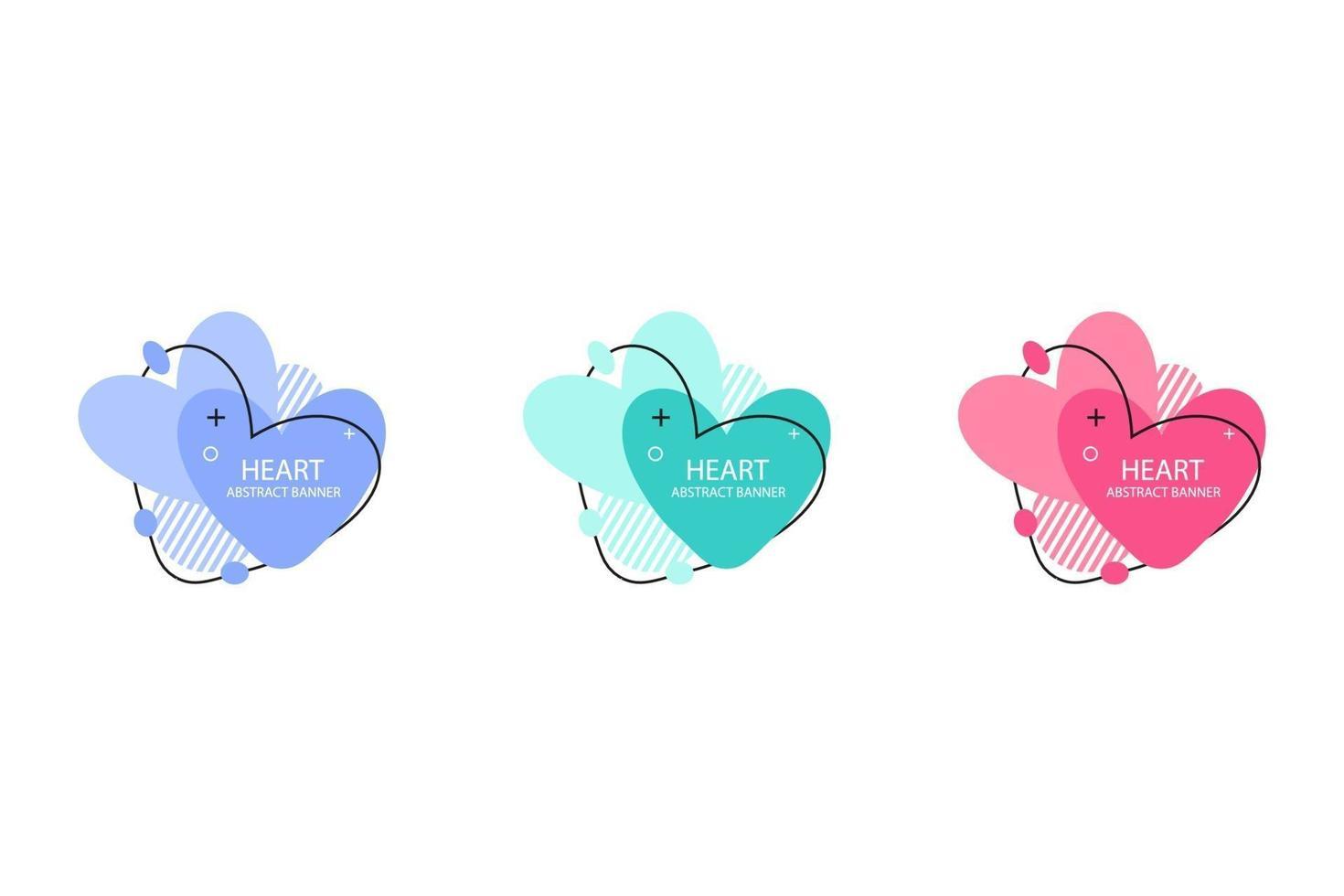två hjärtans abstrakta banersamling. organiska eller flytande former med olika mjuka färger. användbar för webb, sociala medier, tryck, banner, bakgrund, bakgrundsmall. Alla hjärtans dag firande vektor
