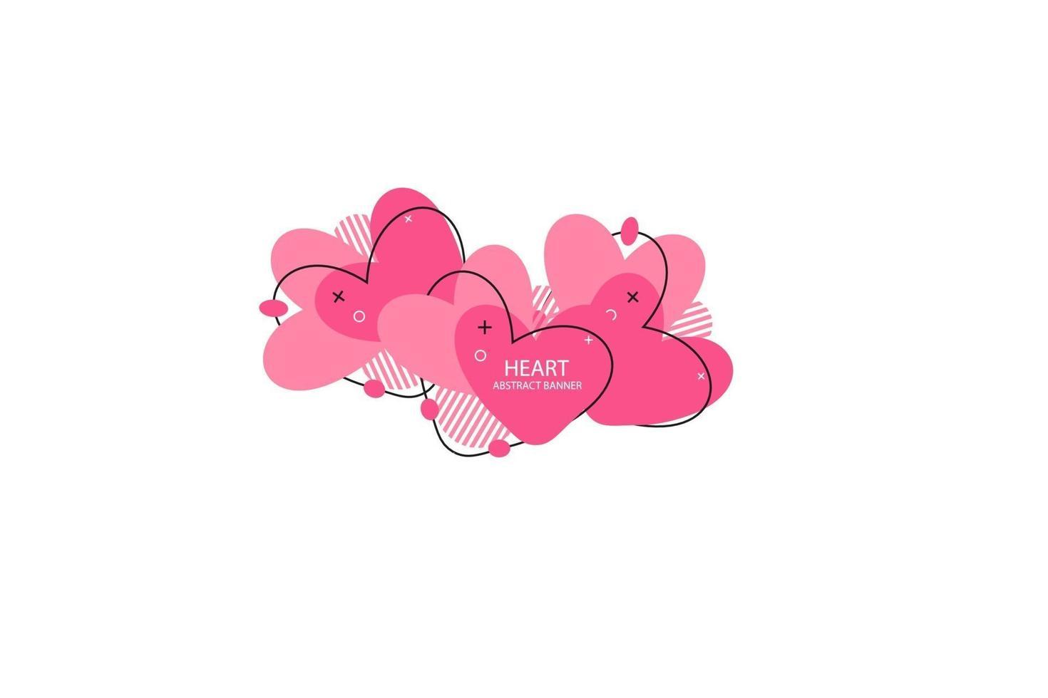 hjärtan abstrakt banner. organiska eller flytande former med olika mjuka färger. användbar för webb, sociala medier, tryck, banner, bakgrund, bakgrundsmall. Alla hjärtans dag firande vektor