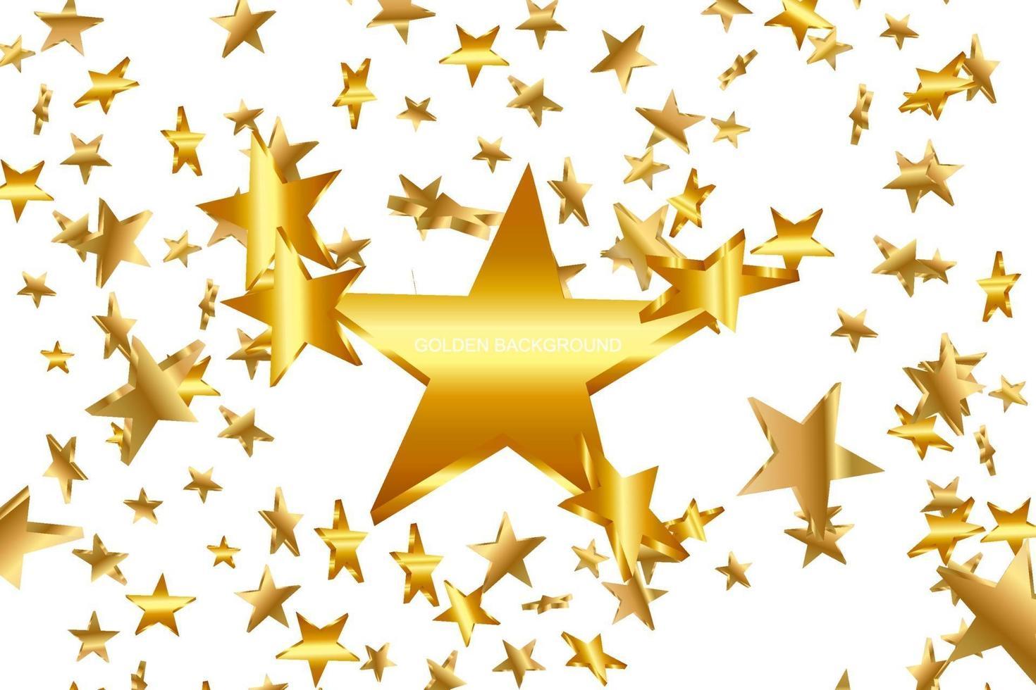 guldgula 3d-stjärnor som faller. vektor konfetti stjärna bakgrund. gyllene stjärnbelyst kort. konfetti faller kaotisk dekor.