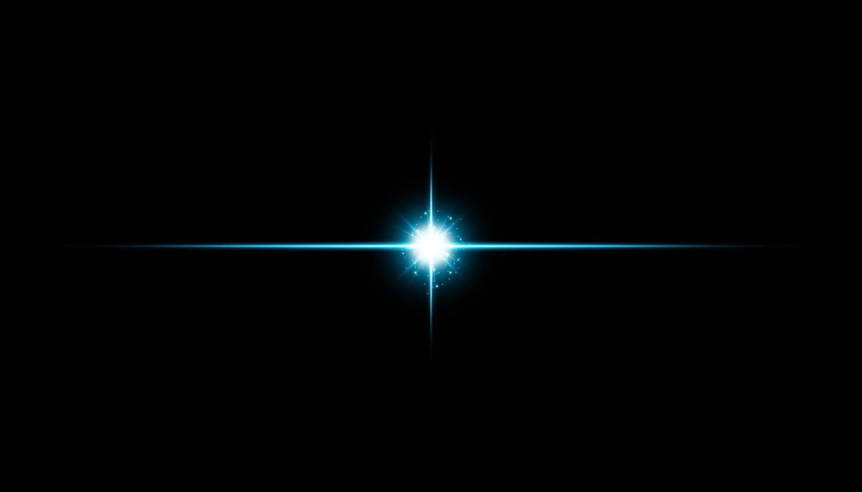 glödisolerad blå effekt, linsflare, explosion, glitter, linje, solblixt, gnista och stjärnor. vektor