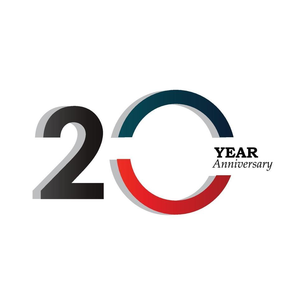 20 år för illustration för design för mall för färg för blått för blått för årsjubileum vektor