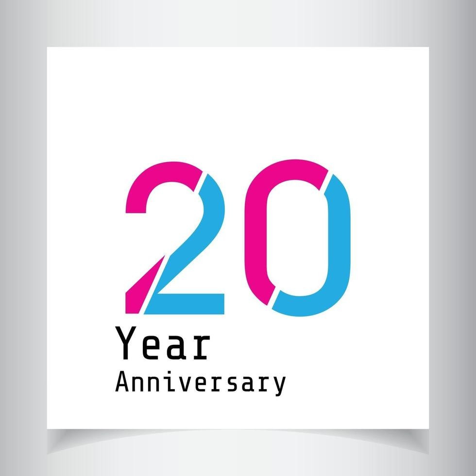 20 års illustration för design för mall för färg för rosa färg för rosa färg för årsdag vektor
