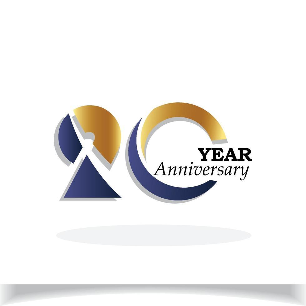 20 års illustration för design för mall för vektor för färg för blå guldfärg