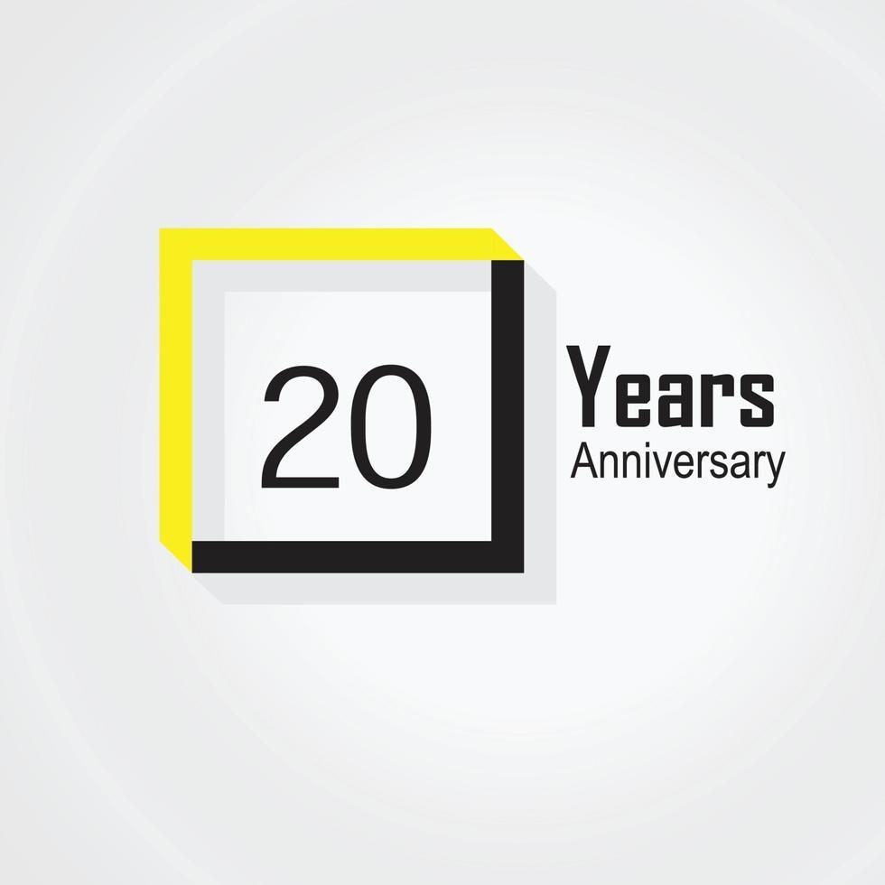 20 års illustration för design för mall för årsdagfirmasvektor vektor