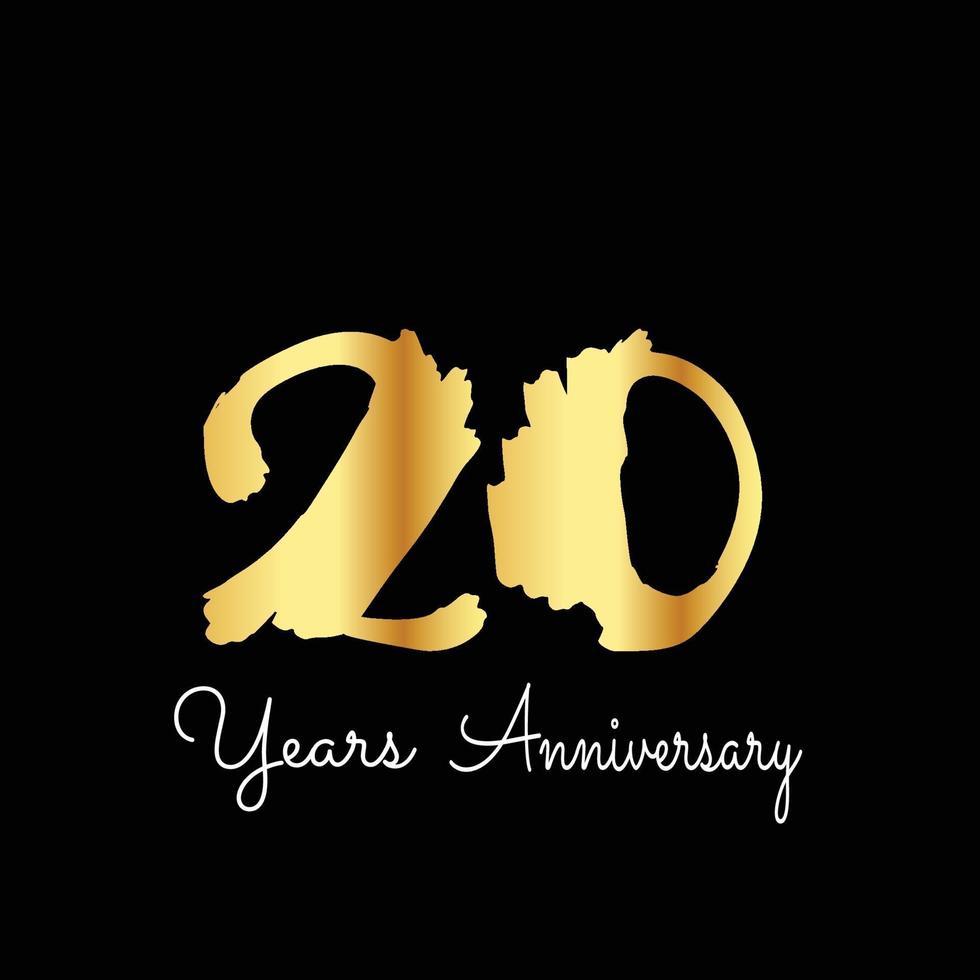 20 års illustration för design för mall för vektor för bakgrund för årsdagfirande guld- svart