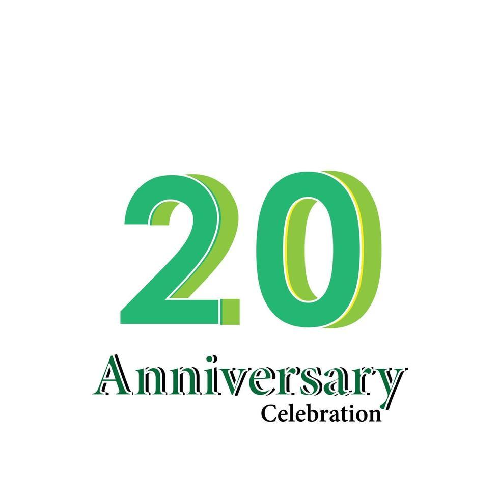 20 års illustration för design för mall för vektor för grön färg för årsdagfirande