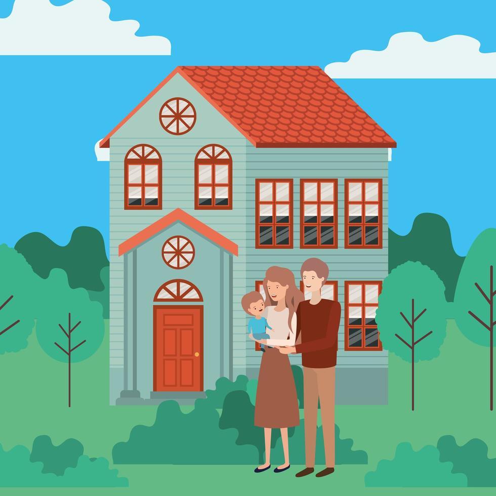söta och glada familjemedlemmar utomhus i huset vektor