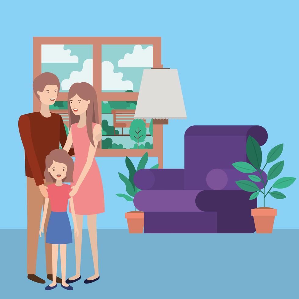 söta och glada familjemedlemmar i vardagsrummet vektor