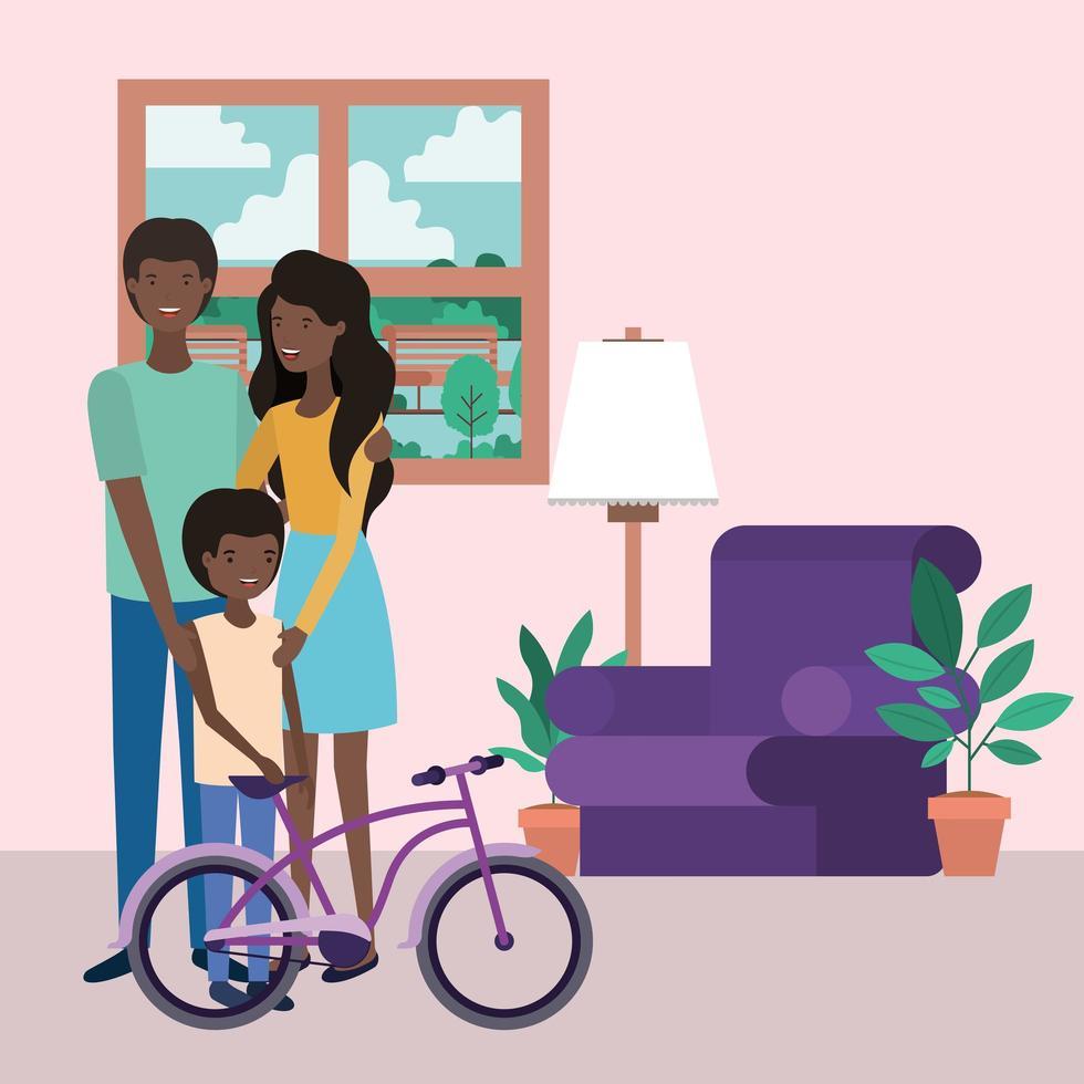 söta afro familjemedlemmar i vardagsrummet karaktärer vektor