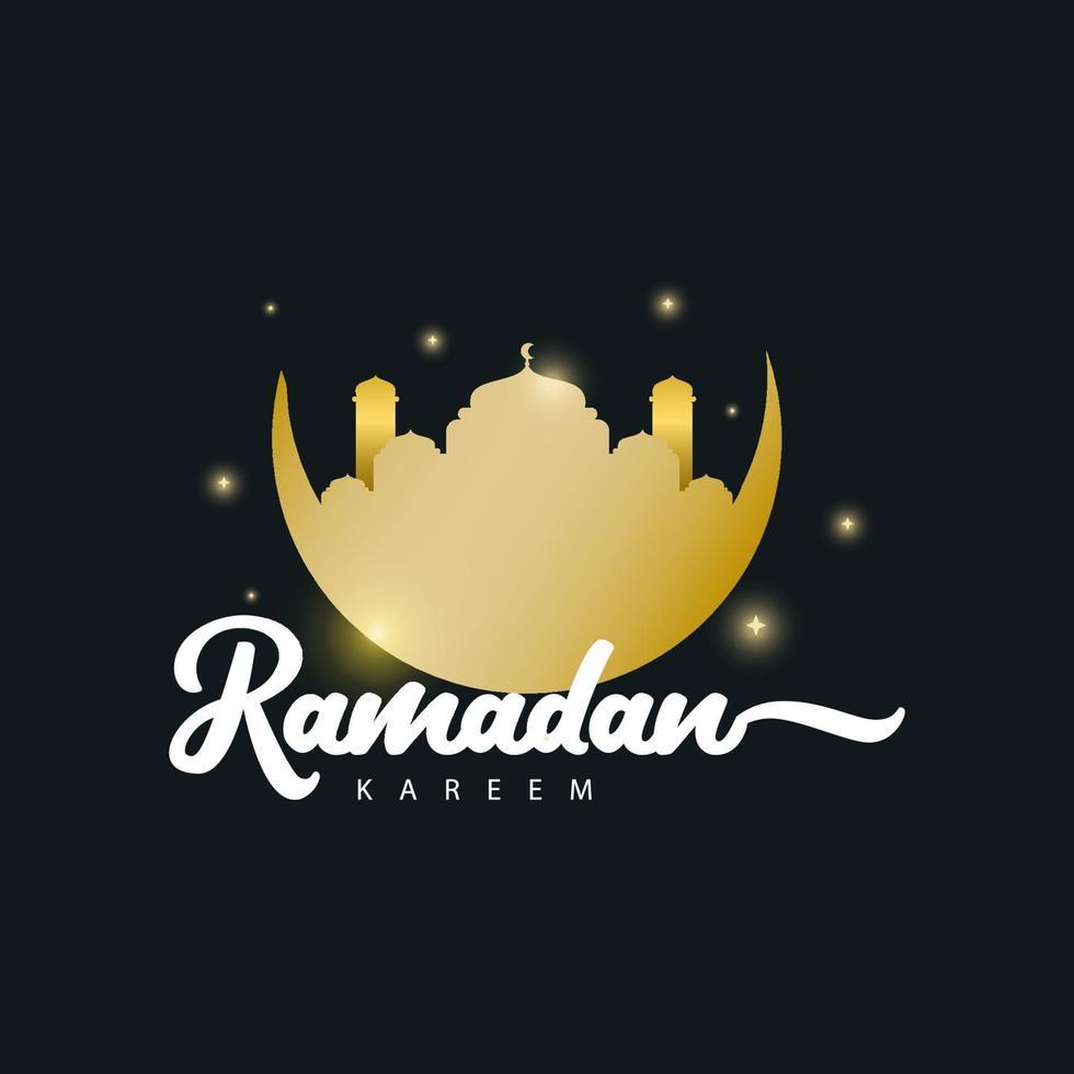 Ramadan Kareem Gold Logo Vektor Vorlage Design Illustration