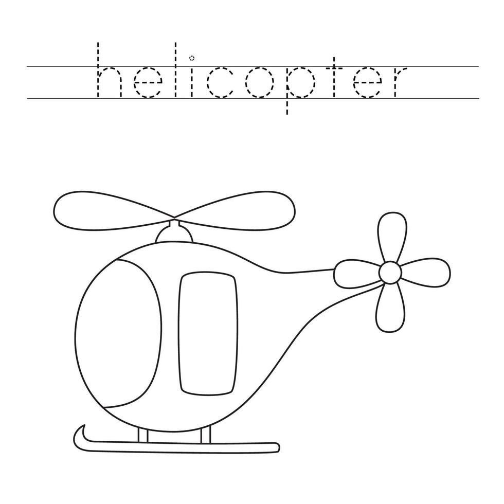 spåra bokstäver med tecknad helikopter. skrivpraxis. vektor
