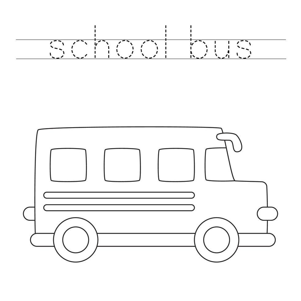 spåra brev med skolbuss. skrivpraxis. vektor