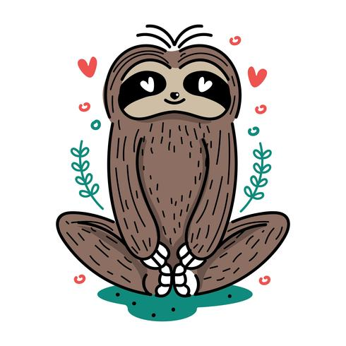 Gullig Yoga Sloth Illustration vektor