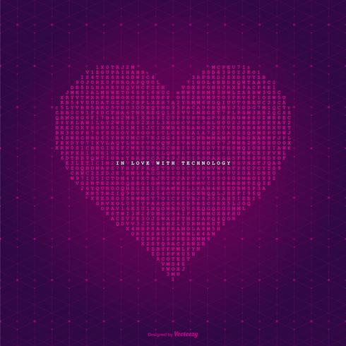 In Liebe mit Technologie Vektor Hintergrund
