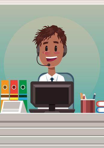 Männlicher Kundendienst-Charakter vektor