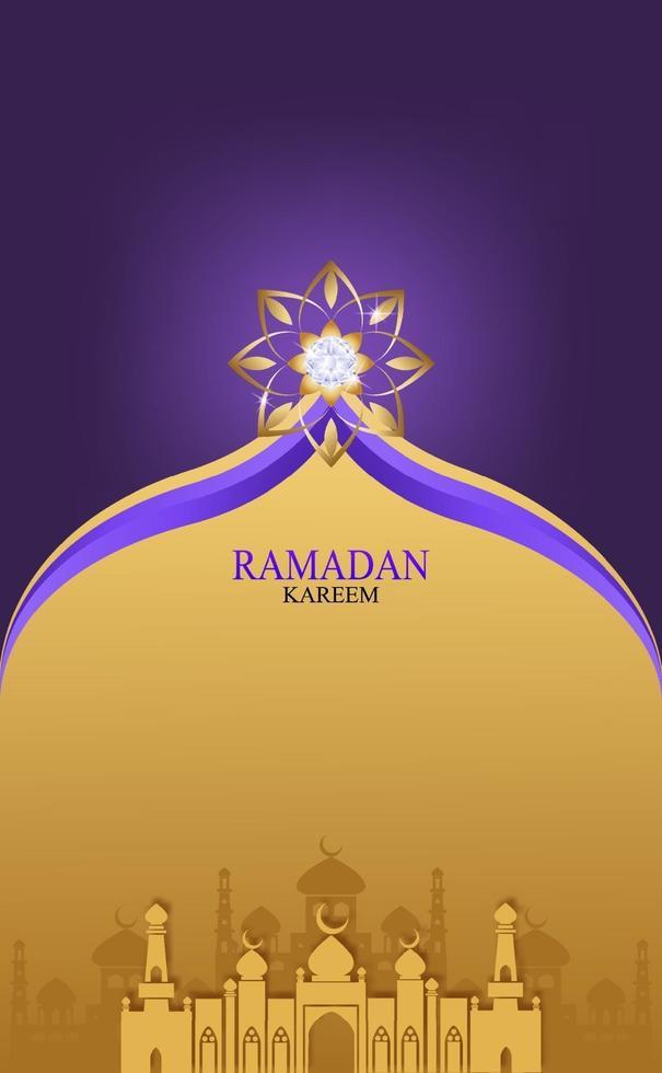 Postkartengruß für Ramadan. Gold und Diamant mit Ramadan-Kareem-Vektor für den Wunsch nach islamischem Fest. vektor