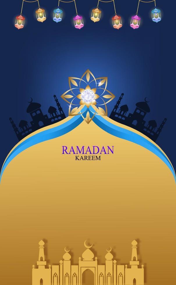 dunkle Nacht mit Gold-Ramadan-Kareem-Vektor für den Wunsch nach islamischem Fest. vektor