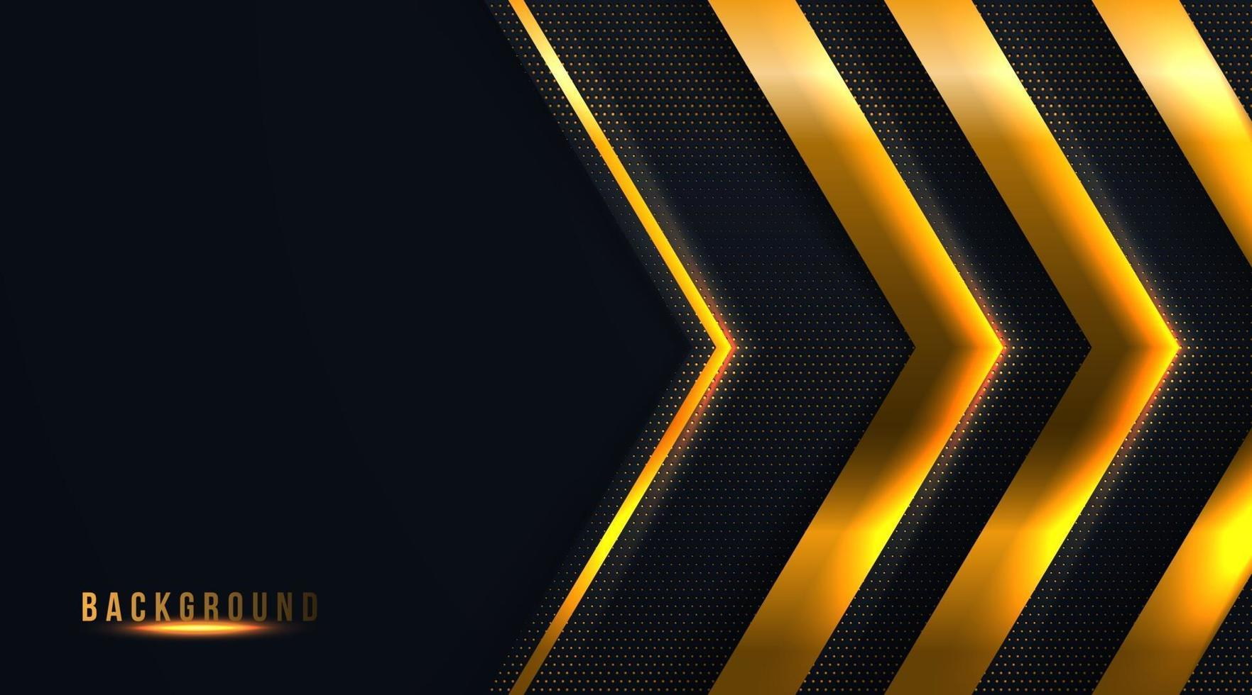 der abstrakte goldene Pfeil auf dunklem Hintergrundvektorillustration vektor