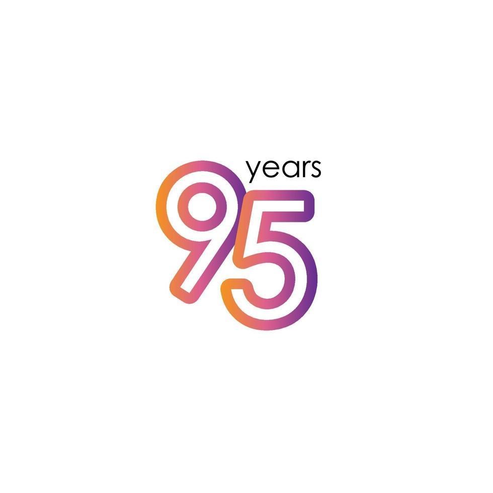 95 års jubileumsfärg illustration för design för mall för elegant elegant firandevektor vektor