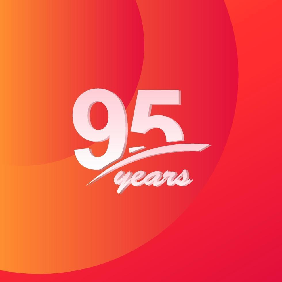 95 års jubileumsfärg full linje elegant firande vektor mall design illustration