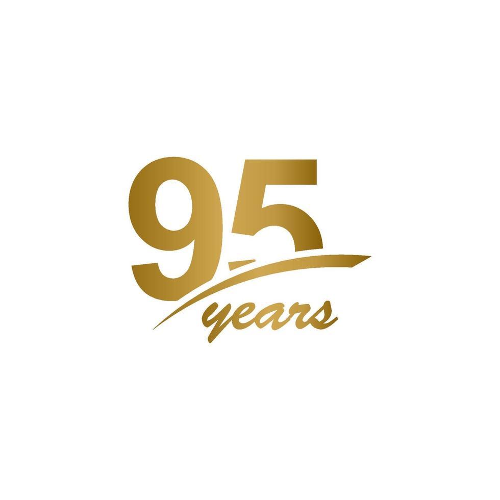 95-årsjubileum elegant guldlinje firande vektor mall design design
