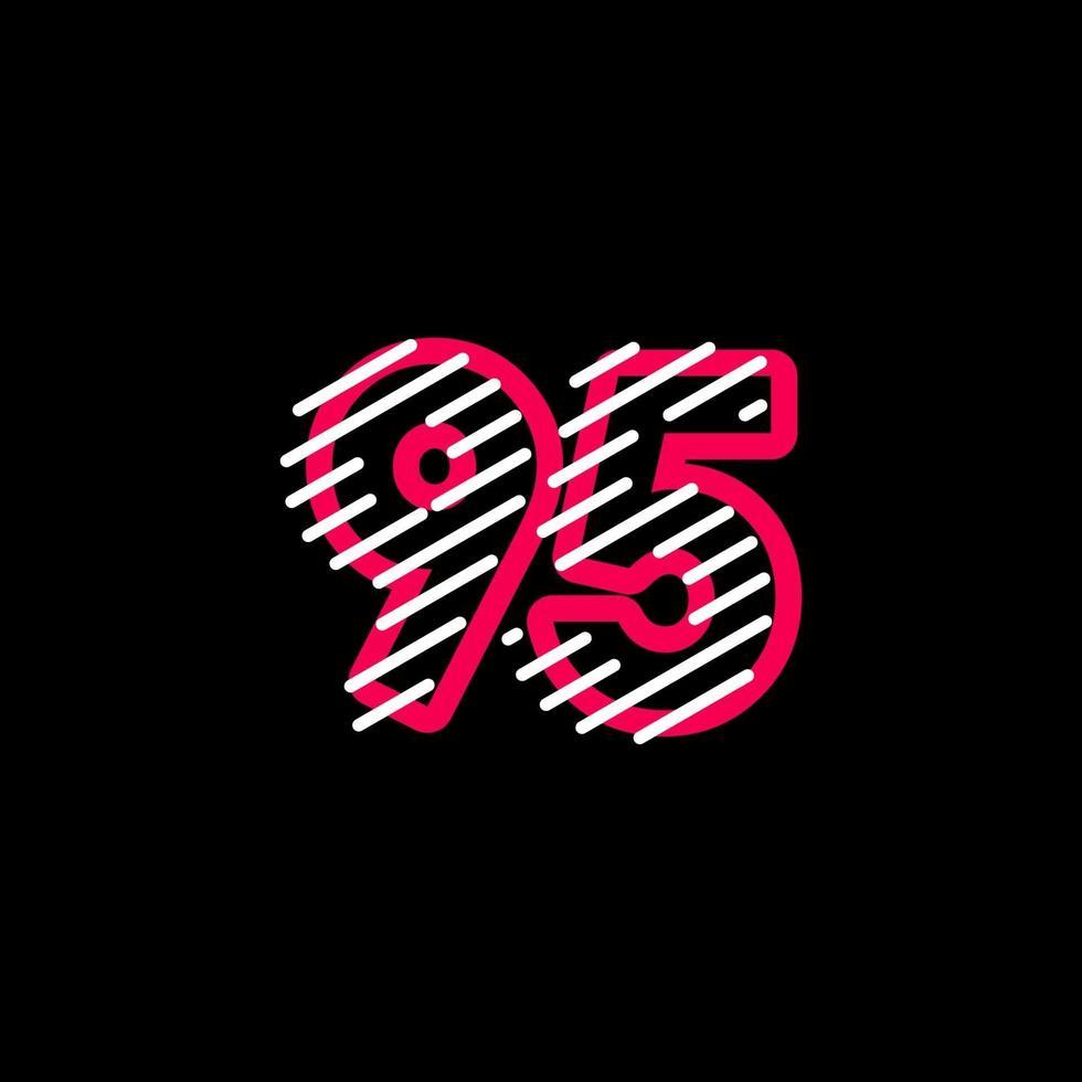 95-årsjubileum linje design logo vektor mall illustration