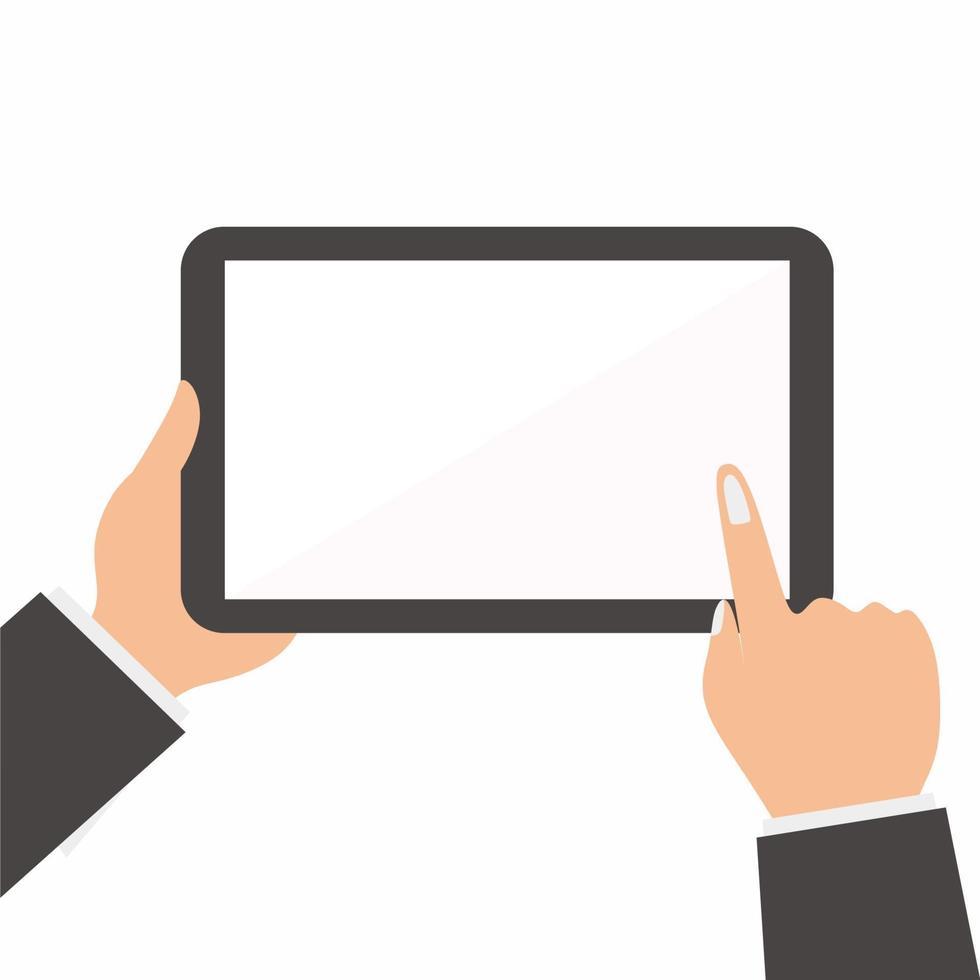 affärsmannen händer som håller tabletten och vidrör vid en tom skärm. använder digital tablet pc som ipad-konceptet. platt designstil vektorillustration för webbbanner, webbplats, infographics vektor