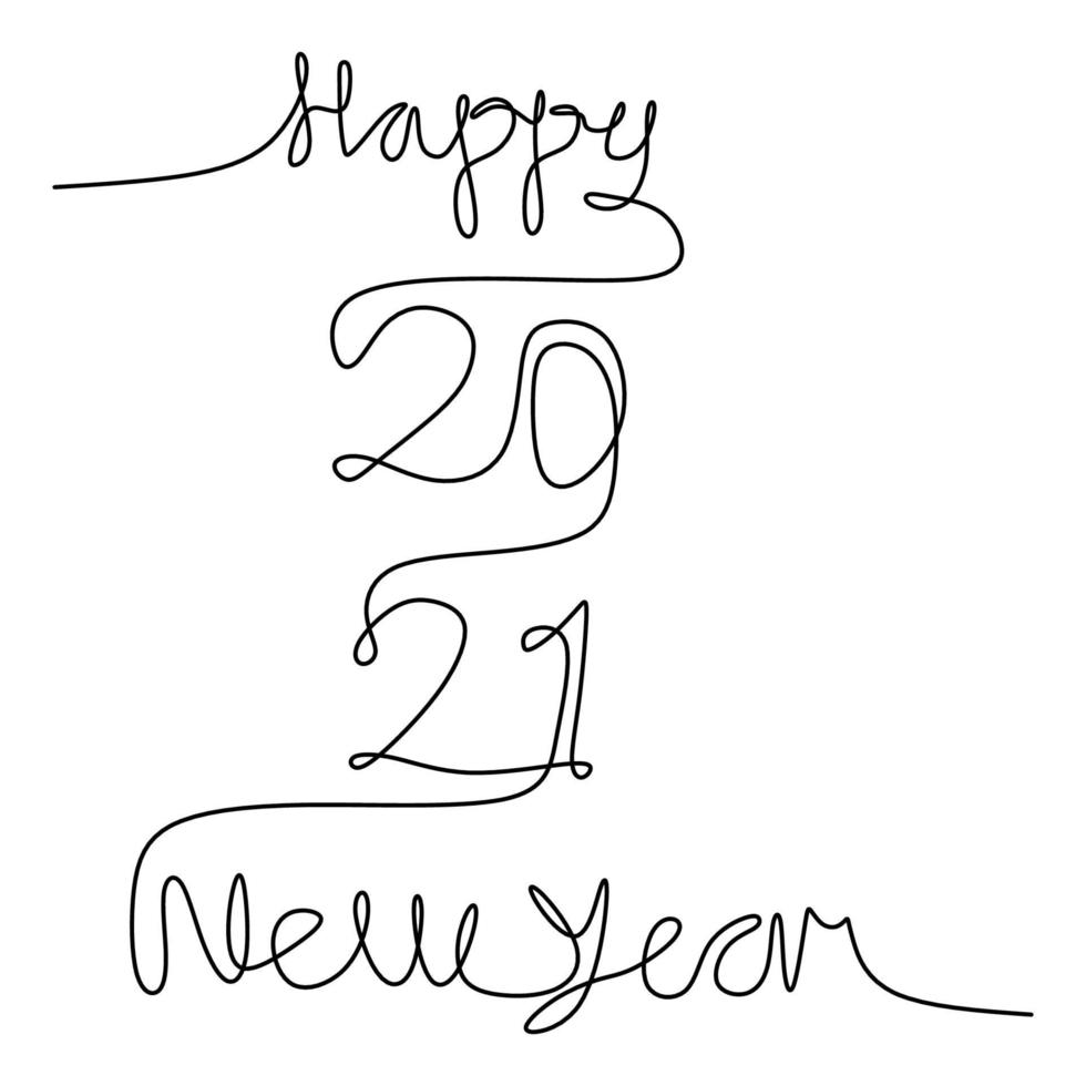 kontinuierliche einzeilige Zeichnung eines 2021 mit glücklich geschriebenem Neujahrstext handgeschriebene Beschriftung minimalistische schwarze Strichgrafikskizze lokalisiert auf weißem Hintergrund. Jahr des Stiers. Grußkarte oder Banner Design vektor