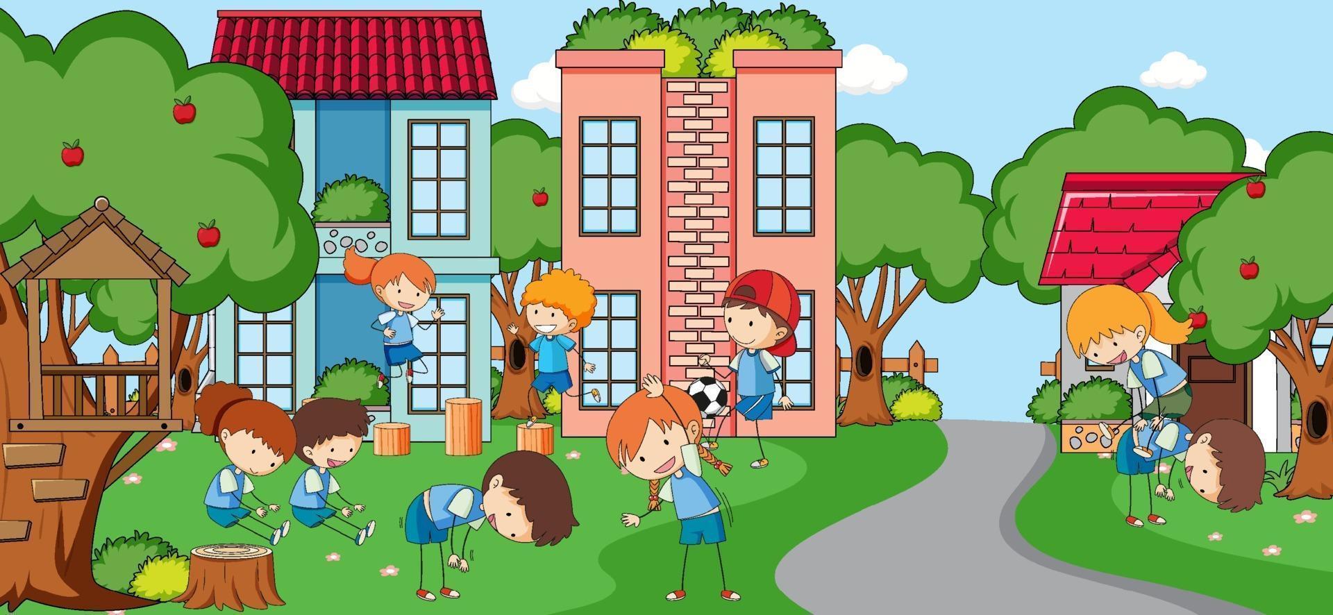 utomhusplats med många barn som leker på lekplatsen vektor
