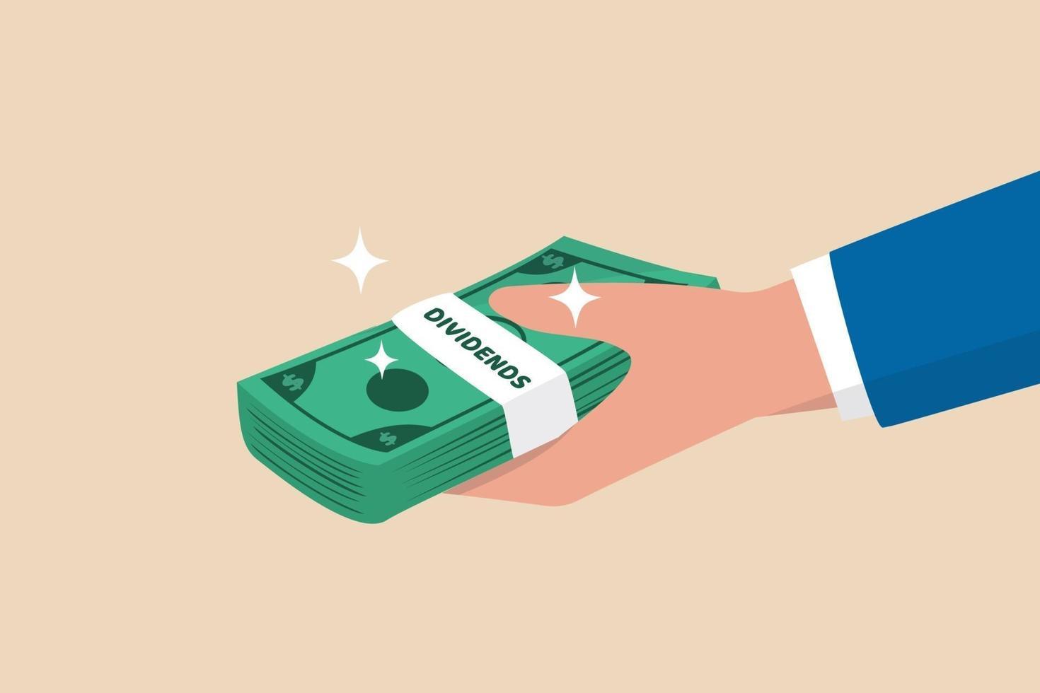utdelning aktieutbetalning, passiv inkomst från utdelningsavkastningskoncept vektor