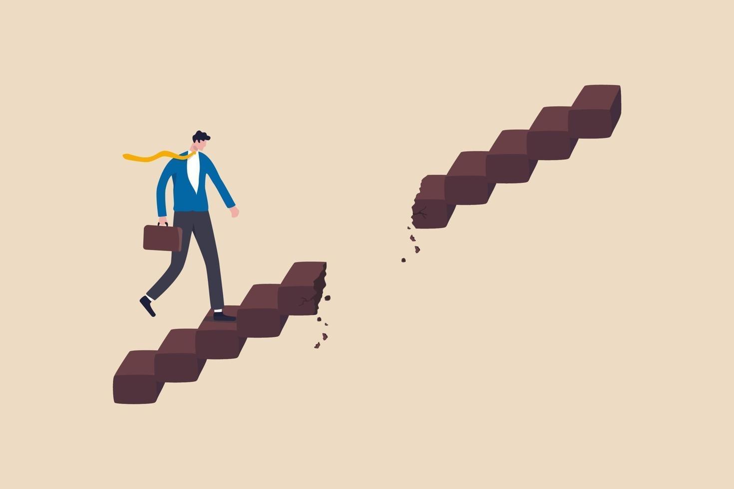 karriärväg hinder, affärsproblem eller risk, utmaning att uppnå framgång eller ledarskap för att övervinna svårighetskoncept vektor