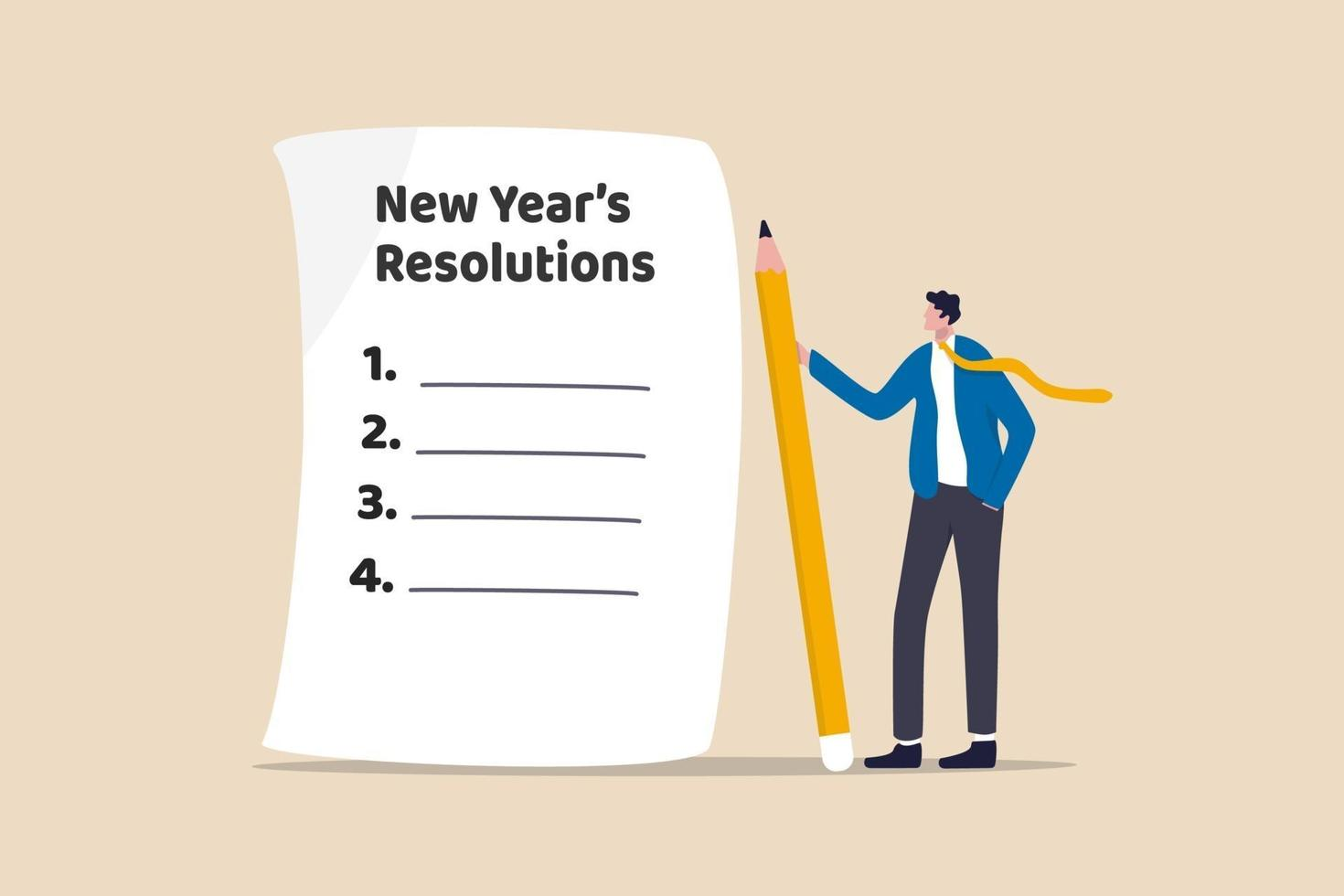 nyårsresolutioner, uppsättningsmål eller affärsmål för nyår eller som börjar med arbetsutmaningskoncept vektor