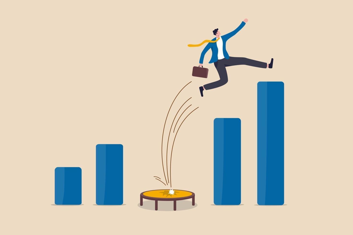 stark affärsman som hoppar från studsmattan tillbaka till toppen av växande stapeldiagram vektor