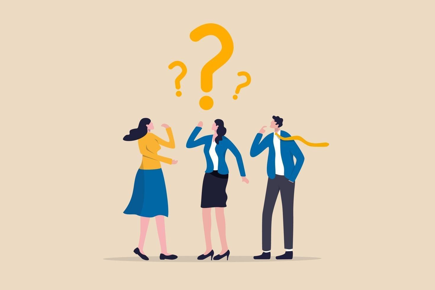 förvirrad affärslag hitta svar eller lösning för att lösa problem, arbetsfråga eller tvivel och misstankar i arbetsprocesskoncept vektor