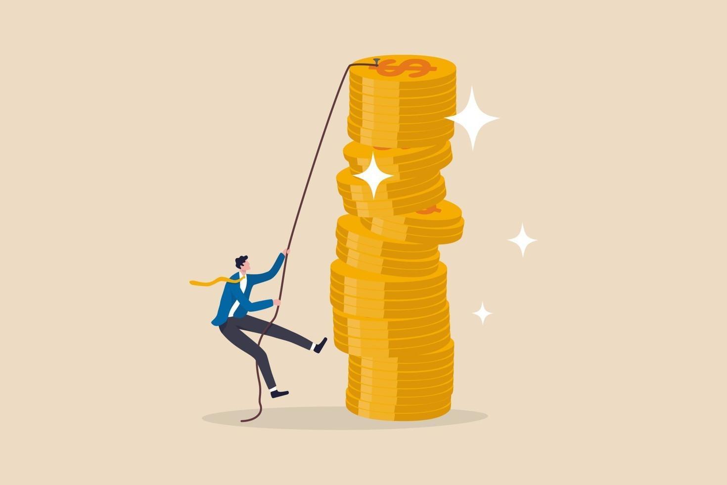 finansiellt mål, inkomst, lön och karriärväg, investerarrisk för att göra vinst eller sparande för att nå ekonomiskt oberoende koncept vektor