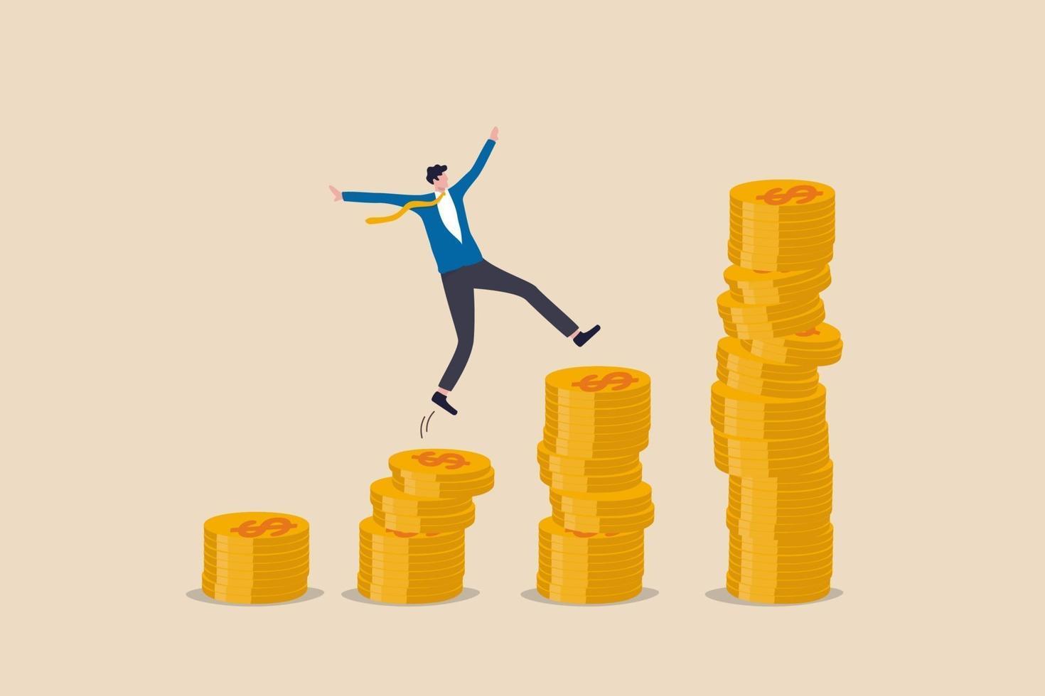 sammansatt ränta, investering i penningtillväxt, välstånd eller intjäning och lönsamhet lager koncept vektor