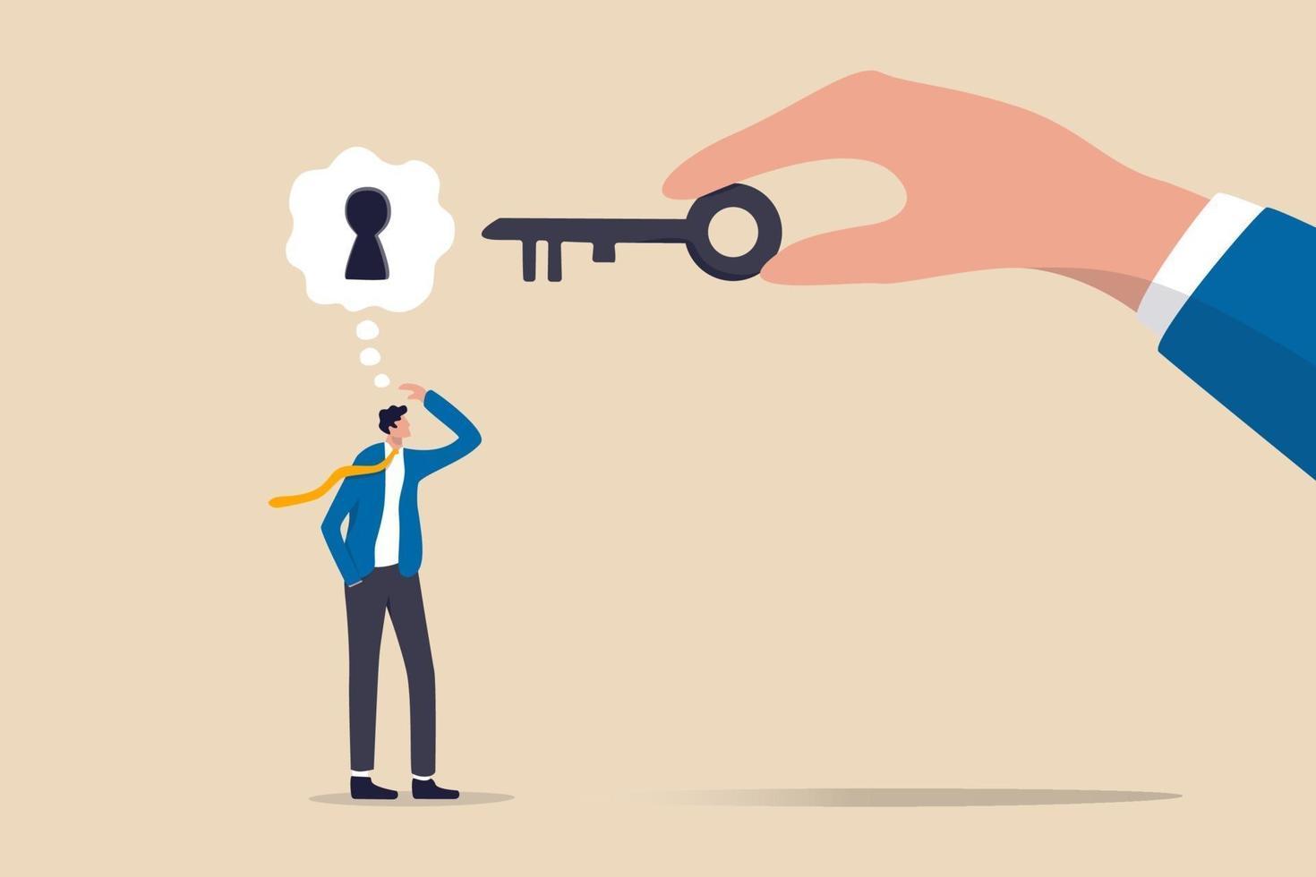 affärsstöd eller hjälp för att lösa problem, rensa och avblockera arbetshinder eller nyckel för att låsa upp affärsidékoncept vektor