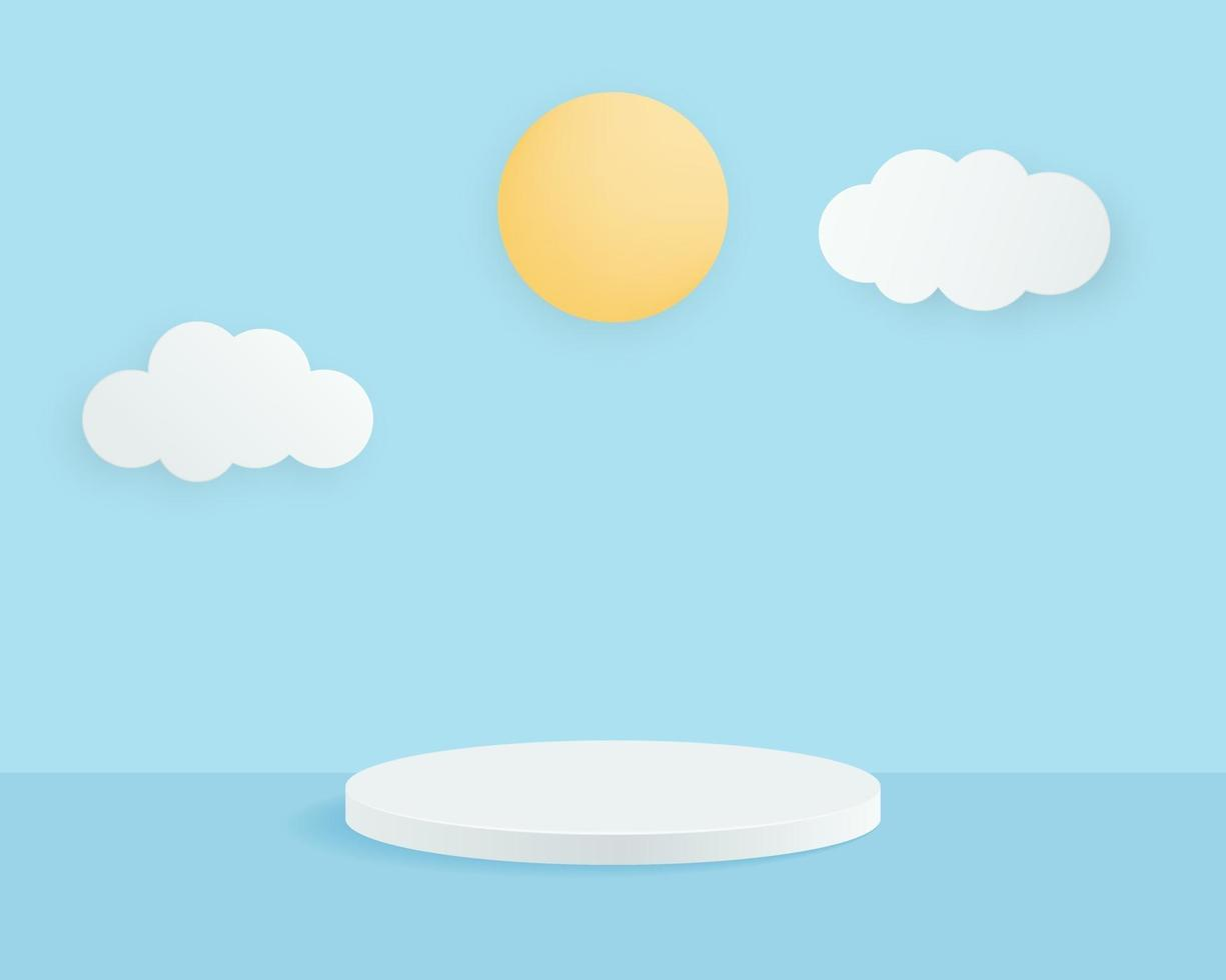 leeres Zylinderpodest auf minimalem Hintergrund mit Wolken und Sonne. abstrakte Minimalszene mit geometrischen Formen. Design für die Produktpräsentation. 3D-Vektorillustration. vektor
