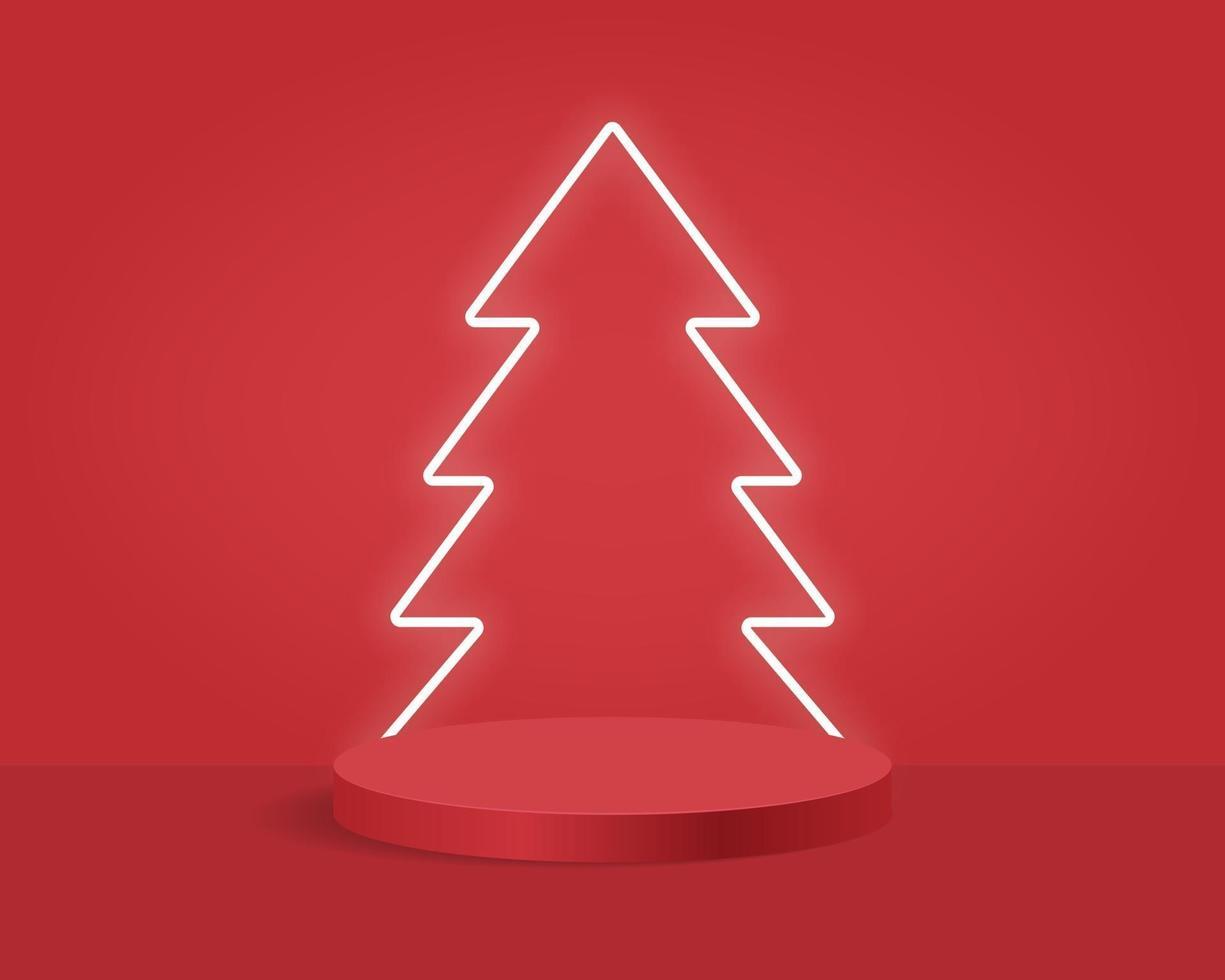 leeres Zylinderpodest auf minimalem Hintergrund mit Weihnachtsbaum. abstrakte Minimalszene mit geometrischen Formen. Design für die Produktpräsentation. 3D-Vektorillustration. vektor