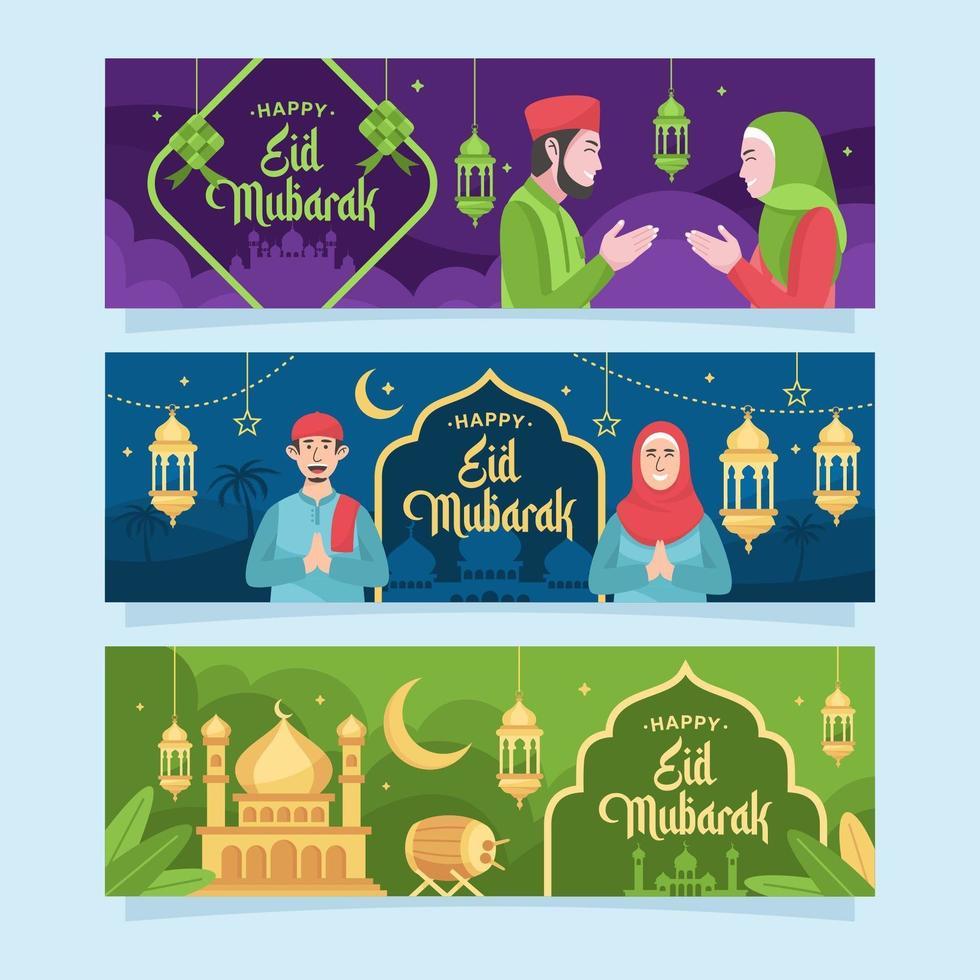glad eid mubarak hälsning banner vektor