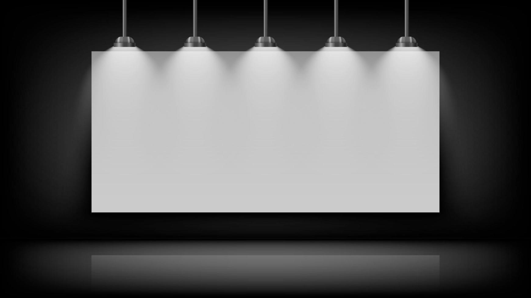 tom vit tavla mockup på svart vägg med glödlampa på toppen, vektorillustration vektor